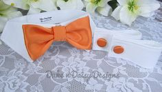 Dog Bow Tie Collar & Cuff Set, Orange Satin Wedding Attire by DukeNDaisyDesigns
