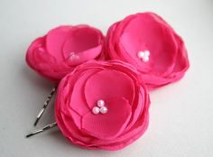 Hot Pink Flowers For Hair Bridal Hair Accessory by SarasBoutique