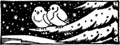 Vintage Winter Birds Image -  scanned from an old Circa 1941 Printer's Catalog.