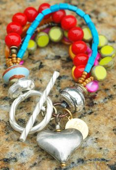 Passion Heart Charm Bracelet: Vivid Red and Chartreuse Glass, Shimmering Magenta and Amber Mother of Pearl, Turquoise, Tigereye and Silver Heart Charm Bracelet