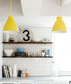 kitchen | subway tile and I love the pop if yellow!
