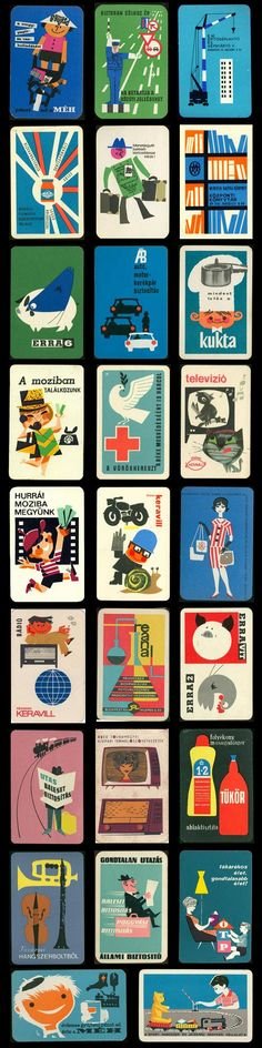 hungarian mid-century pocket calendars, business card, graphic design, visual identity, vintage, retro