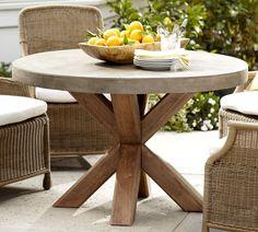 Concrete Outdoor Dining Table, Round Patio Table, Concrete Coffee Table, Dining Table With Bench, Wood Patio, Round Coffee Table, Patio Dining, Dining Room Table, Diy Patio