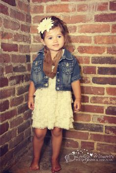 3 year old Jossie, lace romper dress