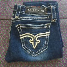 Rock Revival Trina boot cut Size 27 My favorite pair of RR! Not really my style any more so I figured I would sell them to a good home! Great condition! Length 32-33 Rock Revival Jeans Boot Cut