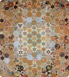 "Original quilt from 1850. Candied Hexagons was inspired by the Frederica Josephson quilt (shown here) in Annette Gero's book ""The Fabric of Society""."
