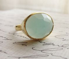 gold ring - mint green ring - Simple gold rings - Mothers Day Chalcedony gold ring - mint green ring - Simple gold rings - On Chalcedony gold ring - mint green ring - Simple gold rings - On Jewelry Box, Jewelry Accessories, Jewlery, Gold Rings, Gemstone Rings, Big Rings, The Bling Ring, Green Rings, Go For It