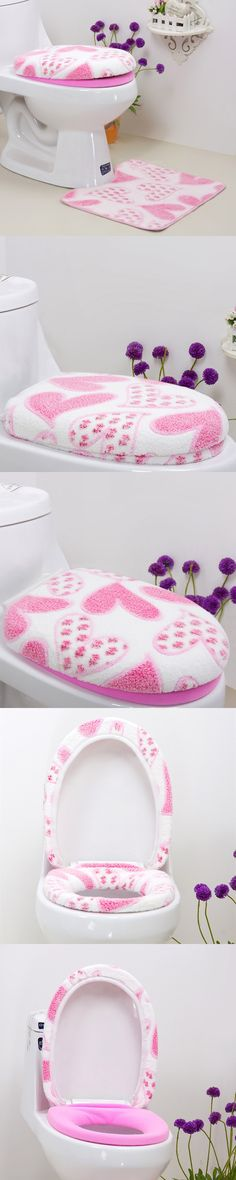 Cheap 3pcs/set Winter Toilet Seat Cover U-shaped Bath Mat Toliet Case Cover Home Decor Bathroom Products Toilet Pads Mat Rugs $21.4