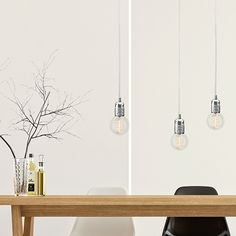 UNO S3 pendant light, silver leaves, white power cord by BULB ATTACK