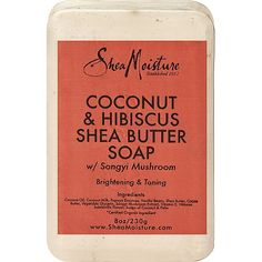 #SheaMoisture's Coconut & Hibiscus Shea Butter Soap cleanses, moisturizes and naturally brightens dull skin. Helps to firm and even skin tone. Creates a luxurious spa experience.