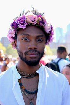 Why are men w/ flowers in their hair so beautiful? Goodness.
