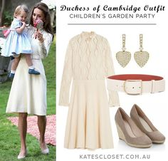 """Kate's Closet on Twitter: """"Kate broke all the playdate rules at the garden party in a winter-white ensemble!"""