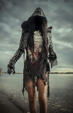 Toxic Vision baphomet dress and leather jacket