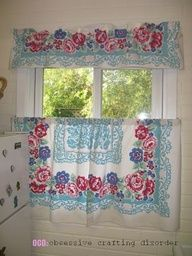 Now I need to find a couple matching tablecloths and I can make new curtains for my kitchen