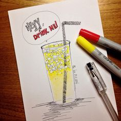 end your day with a glass of lemon juice! | #mekaworks #drawing #draw #doodle #sketch #art #artwork #painting #pendrawing #ink #copic #pencilcolor #lemon #juice #yellow #healthy #fresh #drinks #random #monday