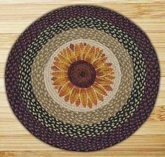 Round 27 Inch Print Patch Sunflower Braided Earth Rug®