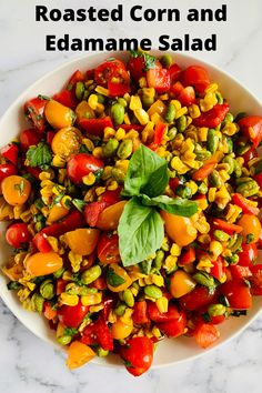 A healthy side dish filled with roasted corn, edamame, cherry tomatoes, red pepper, basil, and a balsamic dressing. It can be served in a variety of ways and is the perfect spring/summer dish Edamame Salad, Roasted Corn, Roasted Vegetables, Healthy Appetizers, Healthy Salads, Healthy Recipes, Healthy Sides, Healthy Side Dishes