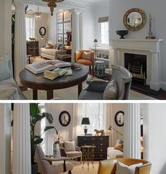 In a Savannah townhouse, Greek Revival columns screen the living and dining rooms - Franck & Lohsen Architects, Inc., Washington DC.