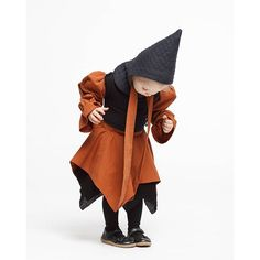 Hat in quilted soft jersey fabric made from organic cotton with copper-coloured tapes and one neck button. This brings you the super authentic and very cute Wizard look! Explore our vegan clothes for kids at https://www.infantiumvictoria.com/collections/urgothic-collection/products/hat | Eco Friendly Fashion for Boys + Girls