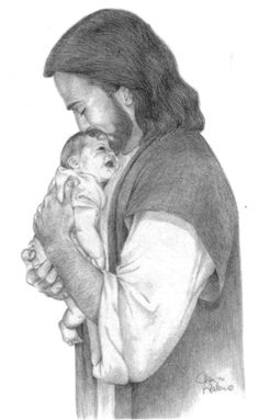 "Pencil drawing of Jesus holding an infant to His chest and gently kissing the baby's forehead. Though we are not infants, we can each experience the fulfillment of His promise, ""I will not leave you comfortless."" (John 14: 18) - See more by clicking on the picture..."