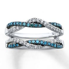 Diamond Enhancer Ring 1/2 ct tw Round-cut 14K White Gold.....I want this except with black diamonds instead of blue<3