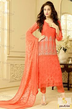 Fancy orange color santoon salwar kameez online shopping portal at pavitraa.in. Best latest most trendy embroidery party chiffon dress with cheap price list offer. #salwarsuit, #casualsalwarsuit more: http://www.pavitraa.in/store/casual-dress/