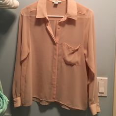 Blush pink bar iii button up shirt Worn once or twice. Perfect for work with something underneath Bar III Tops Button Down Shirts
