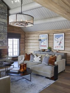 "This is just an example of the ""feel"" I want for the great room. Mountain house yet fun and approachable. Cabin Homes, Brown Living Room, Cabin Decor, Cabins And Cottages, Interior, Log Cabin Interior, Brown Sofa Living Room, Cabin Living, Cabin Interiors"