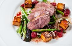 Duck breast salad with asparagus, sweet potato, pickled fennel and raspberry vinaigrette