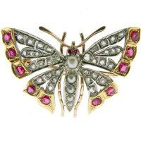Antique Victorian Diamond Ruby and Pearl by ElizabethJJewellery