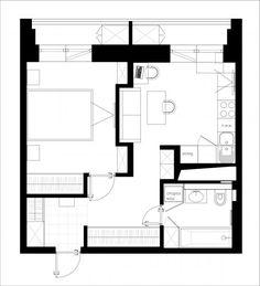 Перепланировка однокомнатной квартиры для двоих 2