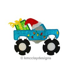 Christmas Monster Truck Applique with Santa Hat and Present. Machine Embroidery Applique Design. Instant Download. 4x4 and 5x7 by KmcclayApplique on Etsy https://www.etsy.com/listing/169316150/christmas-monster-truck-applique-with