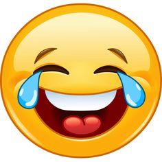 Emoticono cara sonriente con lágrimas de alegría: Es utilizada como equivalente de la risa. Si alguien envía una broma muy graciosa, lo habitual es responder con este emoticón.