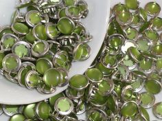 12 Lime Green Pearl Snaps Set  4 Part Prong Size by hookedbykmorey