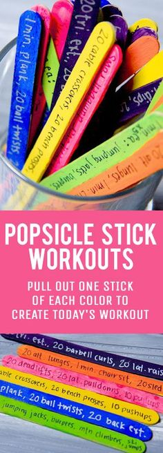 WRITE MESSAGES OF EMPOWERMENT ON THEM.  LAST LONGER THAN PAPER!  IAMYOU360.ORG A popsicle stick workout is a fun and creative way to build a daily exercise routine that will keep you guessing!