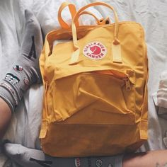 bag backpack yellow fjallraven kanken socks sushi