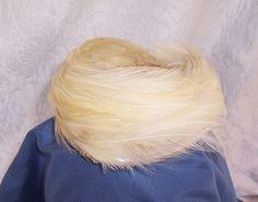 1960's White Cream Feather Hat Headpiece, Vintage Clothing, Vintage Millinery, Mesh Hat, Vintage Feather Headpiece, Wedding Headband by SierrasTreasure on Etsy