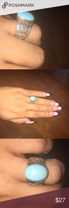 Turquoise silver ring 💍 925 silver stamp I don't know if is real turquoise or other type stone. Very pretty, size six but it feels a little bigger to me. Jewelry Rings