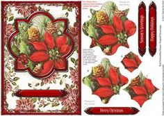 Red Poinsettia Flower Shaped Pyramage