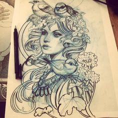 Sketch by Tattoo Artist Luis Orellana Jugendstil in Berlin, Germany / www.tattoosberlin.com