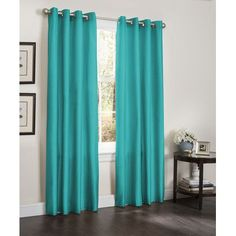 "Kashi Home Erin Thermal Blackout Single Curtain Panel Color: Turquoise, Size: 55"" W x 90"" L"