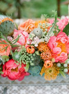 Peony and pin cushion arrangement.  Photography: Bryce Covey Photography - brycecoveyphotography.com Coordination, Design + Paper Design: Bash, Please - bashplease.com/ Floral Design: Primary Petals - primarypetals.squarespace.com/