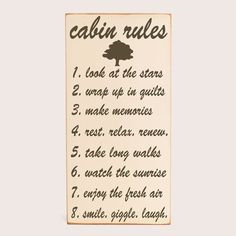 Subway Art Wooden Sign -  Cabin Rules - Typography Word Art -  Primitive Rustic Cabin Lake House Decor -  Your Choice of Color. $55.00, via Etsy.