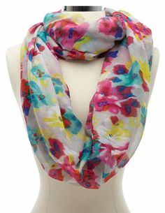 Blurred Floral Print Infinity Scarf: Charlotte Russe