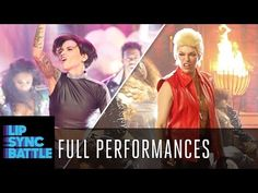 """Milla Jovovich (""""Resident Evil"""") rocks out as Billy Idol for """"White Wedding."""" Ruby Rose makes one of the most epic entrances in Lip Sync Battle history for P. Milla Jovovich, Lip Sync Battle, Aerial Arts, Ruby Rose, Live Events, Popular Music, Songs, Humor, Celebrities"""