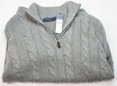 NWT $165 POLO RALPH LAUREN Mens Large CABLE KNIT Zip Mock Neck Sweater FAWN GREY #PoloRalphLauren #12Zip