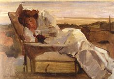 View An afternoon rest in the dunes By Isaac Israëls; oil on canvas; Access more artwork lots and estimated & realized auction prices on MutualArt. Amsterdam, La Haye, Royal Academy Of Arts, Dutch Painters, Dutch Artists, The Dunes, Paintings I Love, Pictures To Draw, White Art
