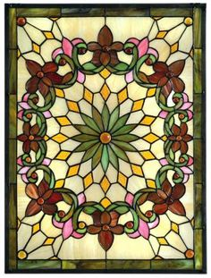 Solstice Medium Rectangle Tiffany-Style Art Glass  You'll Love the Look of Rich, Vibrant Art Glass Windows  Item # 49524  Only $159