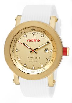 Price:$119.99 #watches Red Line 18000-YG-010-WH, An aura of brilliance. This Red Line timepiece glows with its irradiant charm. Its smooth design will intensify anyone's personality.