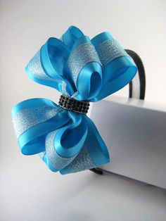 Light Blue PrettyBoutique Chiffon Pearl Rhinestone Flowers Girls Alice Headband Hair Band